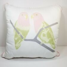 "Cynthia Rowley Lovebirds Parrot Bird 16"" Pillow Pink Green Tropical Pastel"