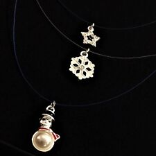 Avon Tis The Season 3 Layer CHRISTMAS Charm Necklace:Blue Snowman Snowflake Star