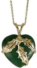 Christmas Holly w/ Faux Jade Heart Charm Necklace