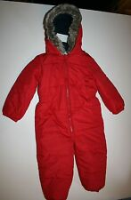 New NEXT UK Winter Snowsuit Red with Hood Trimmed Faux Fur 2 3 Year 98 CM