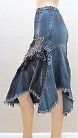 West 36 Dark Blue Denim Glitter Mesh Rhinestone Lace Long Bead Jeans Skirt 3417