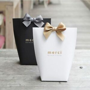 "5pcs Black White Bronzing ""Merci"" Bag French Thank You Wedding Favors Gift Box"