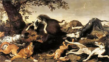 Oil painting Frans Snyders wild boar hunt with dogs in landscape free shipping