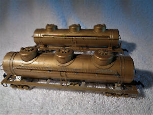 2 Vintage HO brass 3 dome tank cars for one price