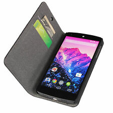 Black Genuine Leather Flip Wallet Case Cover Stand For Nexus 5 E980 Google LG