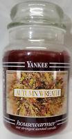 Yankee Candle AUTUMN WREATH Large Jar 22 Oz Brown Housewarmer New Wax Black Band
