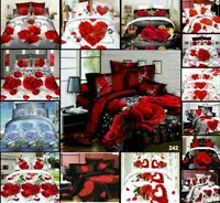 4 Piece Bedding Set 3D Effect Duvet Cover Fitted Sheet Bed Sheet Pillowcases Set