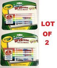 Lot of 2 Crayola Washable 6 Dry-Erase Fine Line Markers Nontoxic Bright Colors