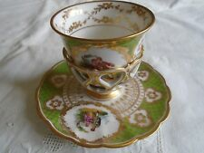 RICHARD KLEMM DRESDEN BEAUTIFUL HAND PAINTED TREMBLEUSE CUP AND SAUCER. #2--1888