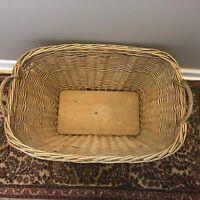 Primitive Antique Vtg Laundry Room Basket Farmhouse Wooden Bottom Wicker Oval