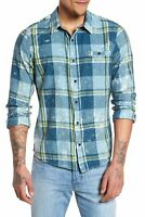 Hurley Men's Burnside Plaid Long Sleeve Button Front Shirt - Space Blue