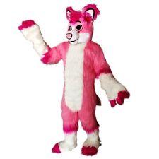 New Offer:Pink Husky Card Mascots Costume Adult Mascots Costume Fancy Dress Gift