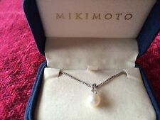 Mikimoto Pearl and Diamond Pendant Necklace