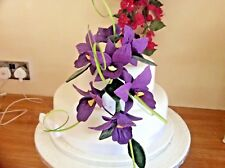HAND MADE SUGAR  SEVEN TRAILING  ORCHIDS  IN PURPLE ALSO IN More COLOURS
