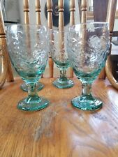 4 Libbey Orchard Fruit Green Wine Goblets 7""