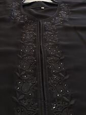 Black Sequin Flower Embroidery Kaftan Abaya Middle Eastern Dress