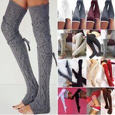 Women Winter Thermal Warm Knit Over Knee Thigh High Stockings Socks Leggings AU