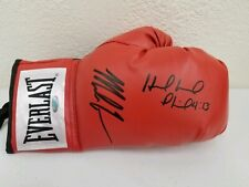 MIKE TYSON HOLYFIELD AUTOGRAPHED EVERLAST BOXING GLOVE RH RED STEINER COA