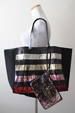 Victoria's Secret Bling rayas lentejuelas Carry All bolsa con Minibolsa
