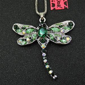 Betsey Johnson Green Enamel Bling Rhinestone Dragonfly Pendant Chain Necklace