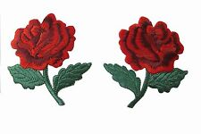 #3955R Lot 2Pcs Red Rose Embroidery Iron On Appliqué Patch/Pair