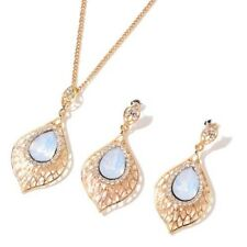 "Simulated White Moonstone Necklace Size 20""+3"" With Stud Earrings In Gold Tone"