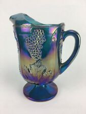 "Indian Glass Blue Carnival Water Pitcher ""Harvest Grape"" Purple Blue Iridescent"