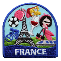 France Travel Embroidered Iron On Patch