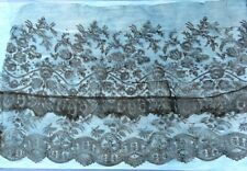 More details for two short flounces of 19th century hand made black chantilly lace in two designs