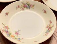 """Vtg Meito China Soup Bowls Ivory Floral Gold Rim Japan 7.5"""" Set Of 3"""