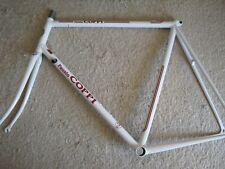 FAUSTO COPPI, WHITE, ENGRAVED STEEL ROAD FRAME SET, 59/58cm , NOS/NEW