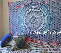 Blue Ombre Mandala Psychedelic Small Tapestry Throw Wall Hanging Gypsy Bedspread