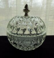 Indiana Glass Clear Mount Vernon Ball Candy Box & Cover