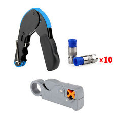 Compression Crimp &Coax Cable Cutter Wire Stripper Stripping Tool &Connector RG6