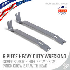 "2pc Crow Bar Pry Bar Flat Bar Nail Puller Paint Lid LIfter Trim Steel 12"" 10"""