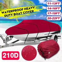 Heavy Duty Waterproof Trailerable Boat Cover Fishing Ski Bass 11'-22' 210