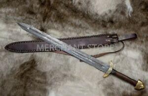 Viking Sword in Damascus steel ,Ulfberht Sword, rose wood handle, leather sheath