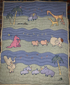 Carters John Lennon Animal Musical Parade Quilted Baby Blanket Blue and Green (E