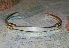 Brass Wire Wrapped 925 Sterling Silver Cuff 19g Engravable ID Bracelet 6mm B2947