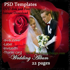 DIGITAL PSD TEMPLATES WEDDING ALBUM BACKDROPS BACKGROUNDS FANTASY FLOWERS