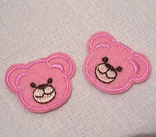LOT de 2 ÉCUSSONS PATCH BRODÉ thermocollant - petits oursons rose - 3 X 3,5 cm
