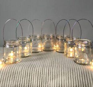 Handmade Hanging glass jar lantern Tea Light candle holder wedding vase gifts