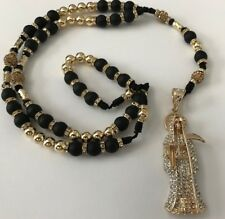 Santa Muerte Rosary Gold Filled with Black Matt Beads Hand Made Great Stones