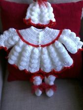 hand knitted baby christmas matinee set 0/3 months