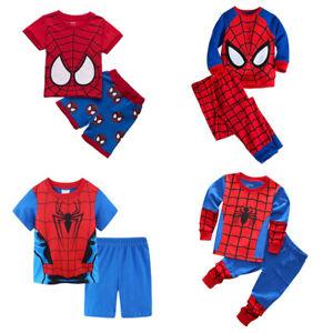 Mixed 2Pcs/Sets Kids Boys Spiderman Short & Long Sleepwear Matching Pajamas 1-8Y