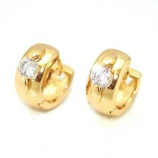 Luxury 18k Yellow Gold Filled Earrings 13mm MINI Hoop CZ GF Smooth Charm Jewelry