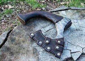 Viking Beard Axe Hand Forged Battle Hatchet Handmade Custom Steel Etching
