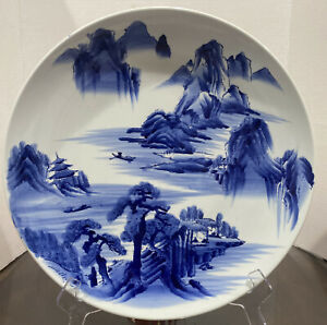 """Asian Blue & White Landscape Decorative 15.5"""" Wall Hanging Plate"""