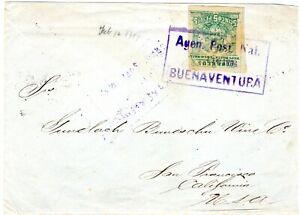 COLOMBIA - USA - POST WAR - 5p COVER - BUENAVENTURA to SAN FRANCISCO - 1904 RRR