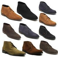 Lucini Mens Suede Leather  Lace Up Shoes High Top Desert Ankle Smart Boots